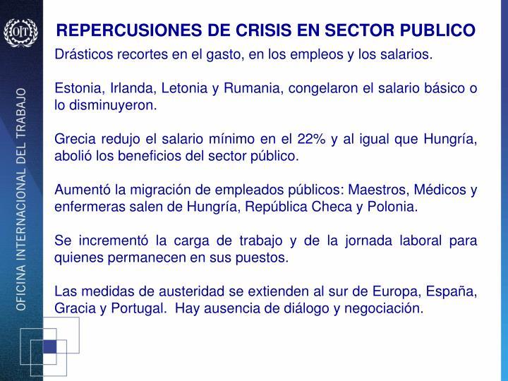 REPERCUSIONES DE CRISIS EN SECTOR PUBLICO