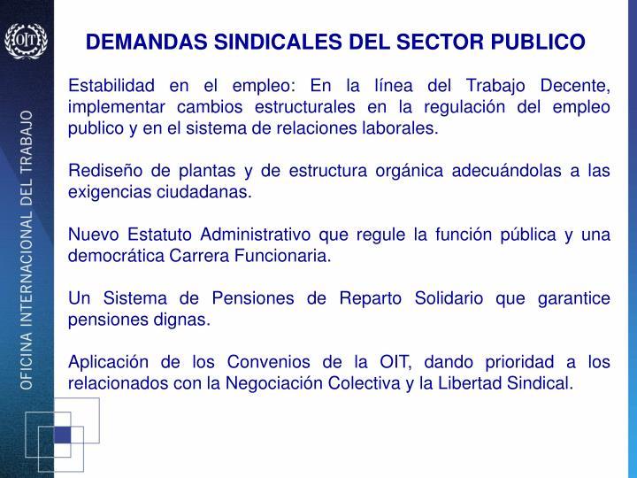 DEMANDAS SINDICALES DEL SECTOR PUBLICO
