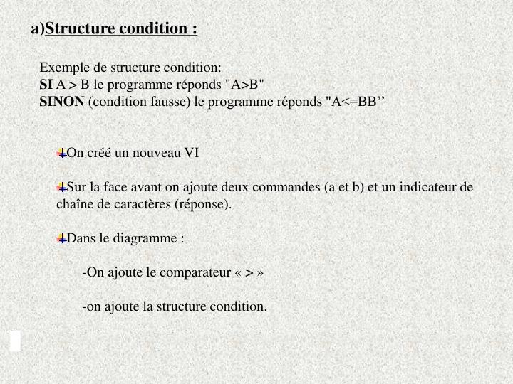 Structure condition :