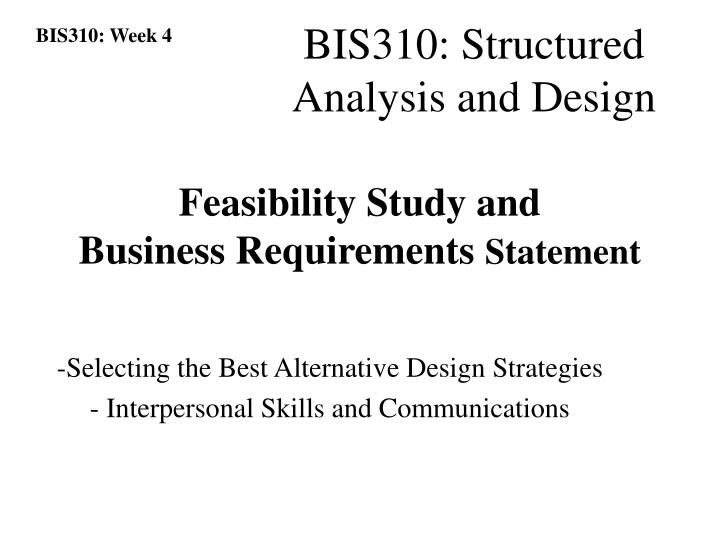 Feasibility Study and