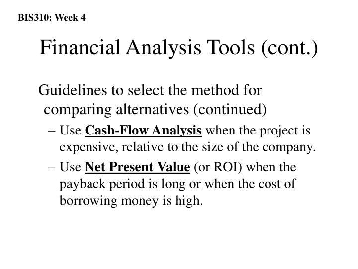 Financial Analysis Tools (cont.)