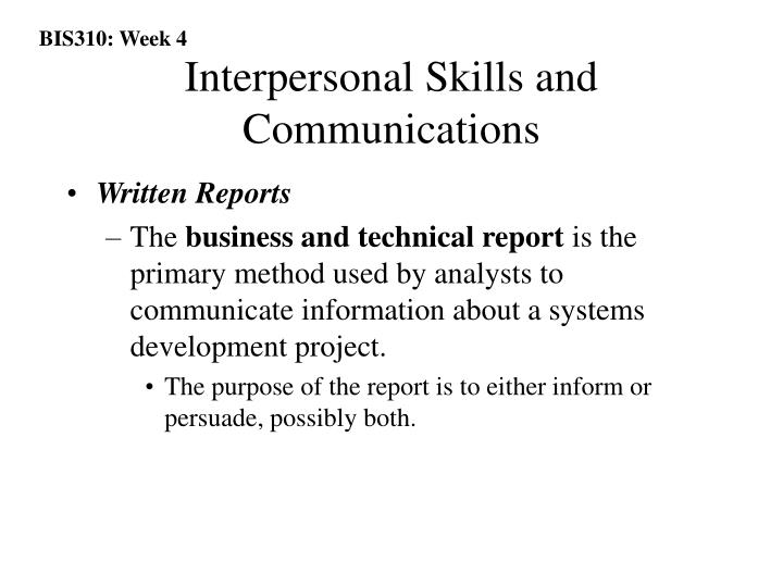 Interpersonal Skills and Communications
