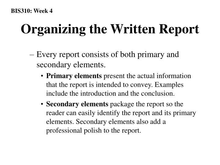 Organizing the Written Report