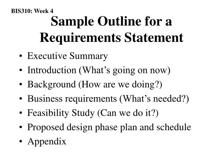Sample Outline for a Requirements Statement