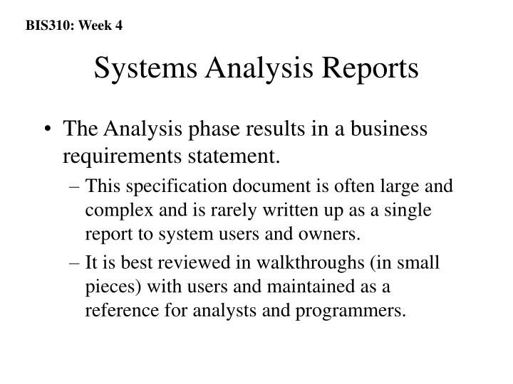 Systems Analysis Reports