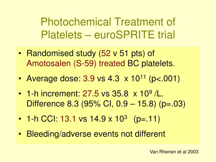 Photochemical Treatment of Platelets – euroSPRITE trial