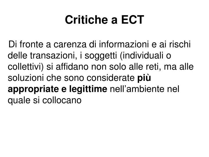 Critiche a ECT