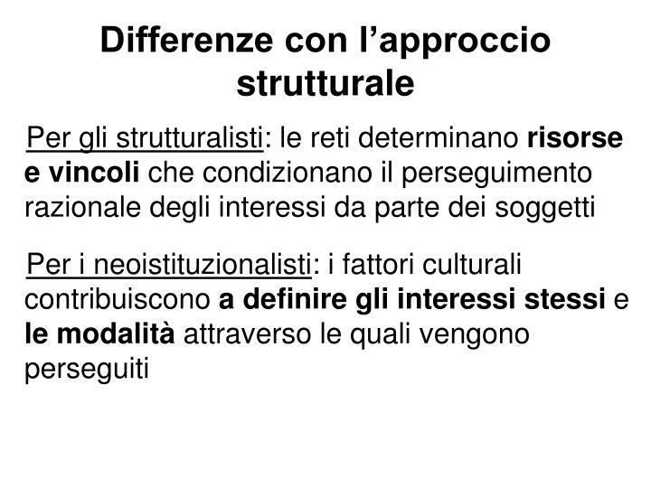Differenze con l'approccio strutturale
