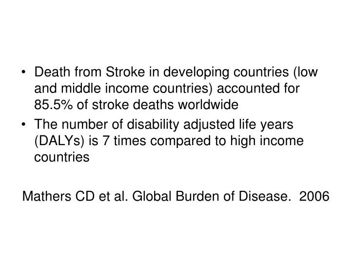 Death from Stroke in developing countries (low and middle income countries) accounted for 85.5% of stroke deaths worldwide