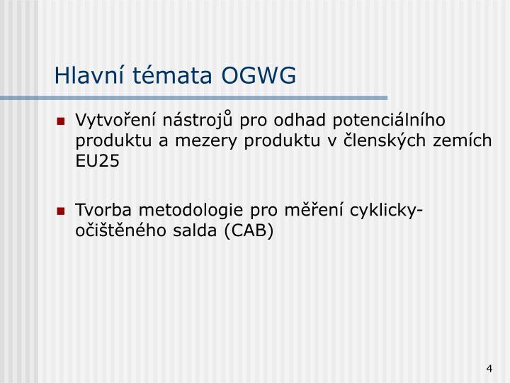 Hlavní témata OGWG