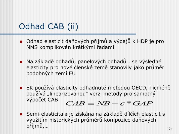 Odhad CAB (ii)
