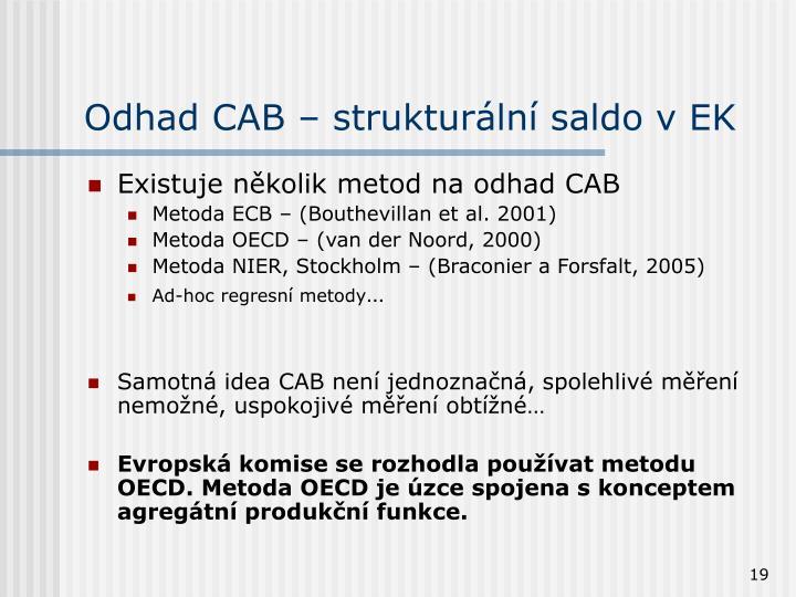 Odhad CAB – strukturální saldo v EK