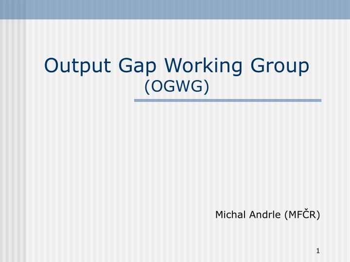 output gap working group ogwg