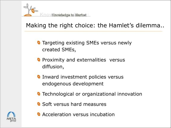 Making the right choice: the Hamlet's dilemma..