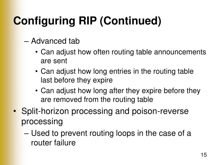 Configuring RIP (Continued)