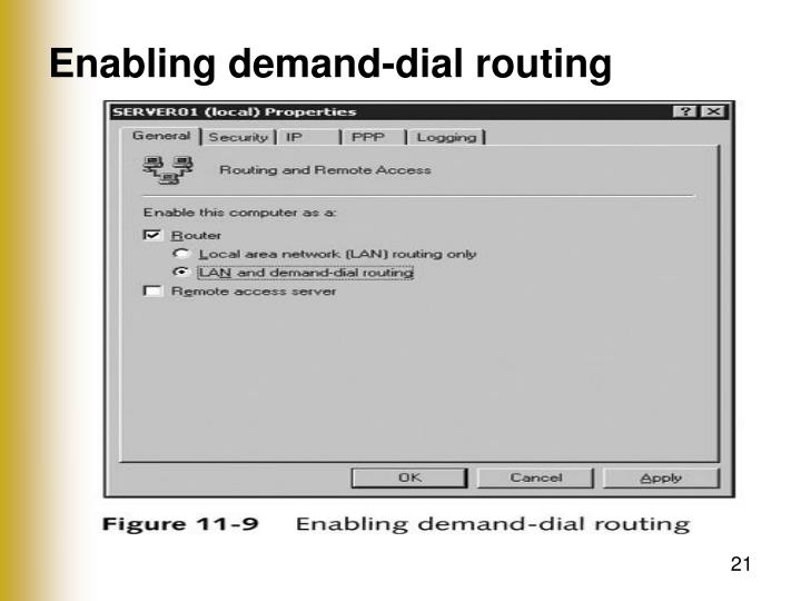 Enabling demand-dial routing