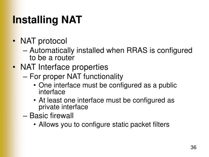 Installing NAT