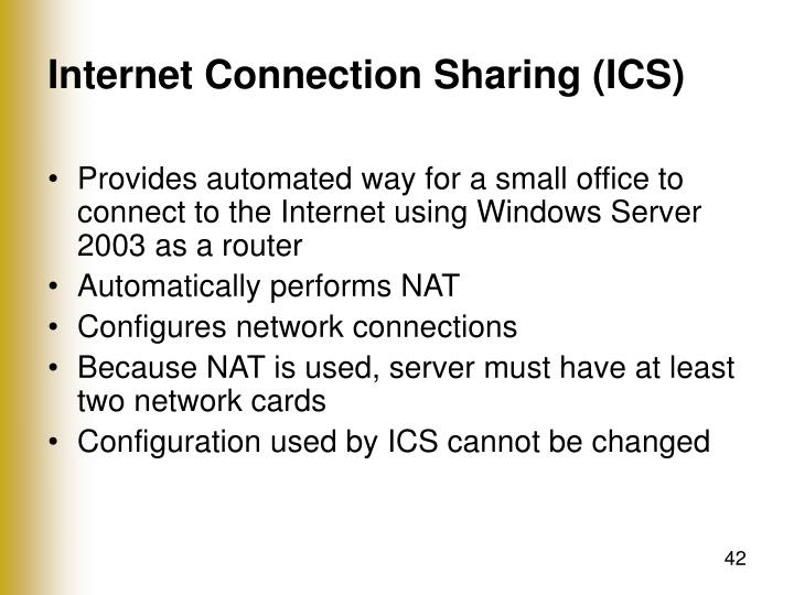 Internet Connection Sharing (ICS)