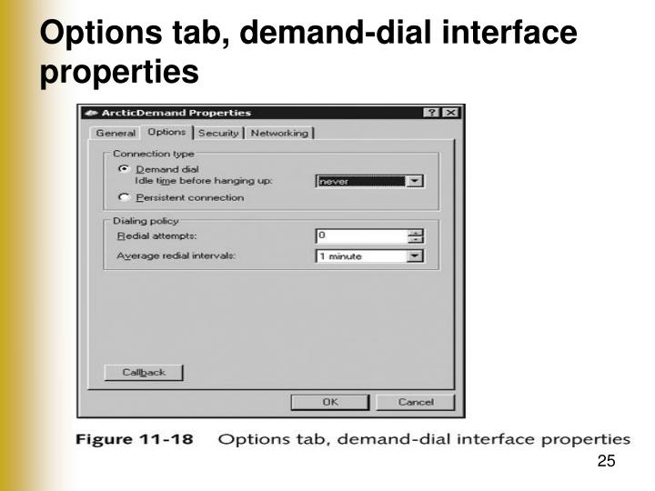 Options tab, demand-dial interface properties