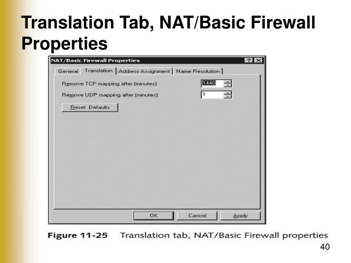 Translation Tab, NAT/Basic Firewall Properties