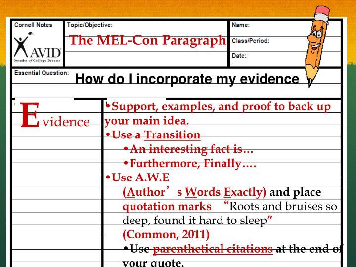 The MEL-Con Paragraph