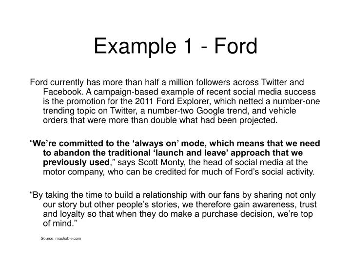 Example 1 - Ford