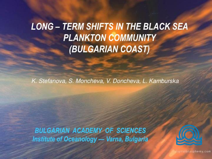 Bulgarian academy of sciences institute of oceanology varna bulgaria