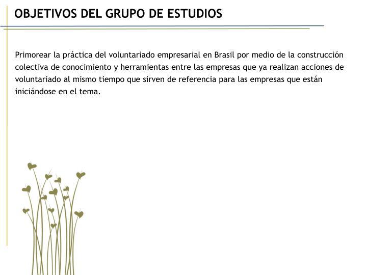 OBJETIVOS DEL GRUPO DE ESTUDIOS