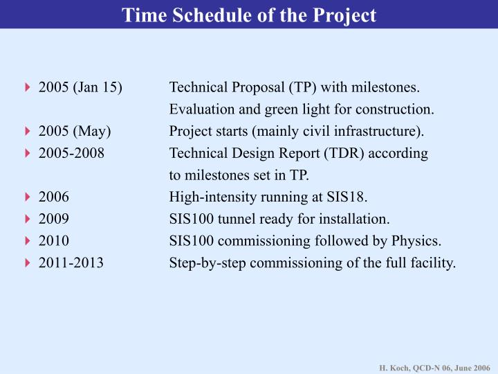 Time Schedule of the Project