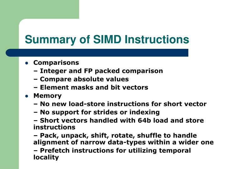 Summary of SIMD Instructions