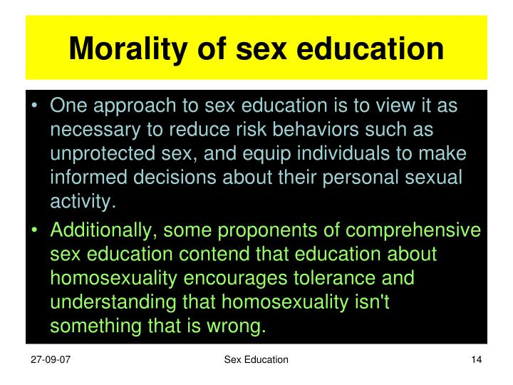 Morality of sex education