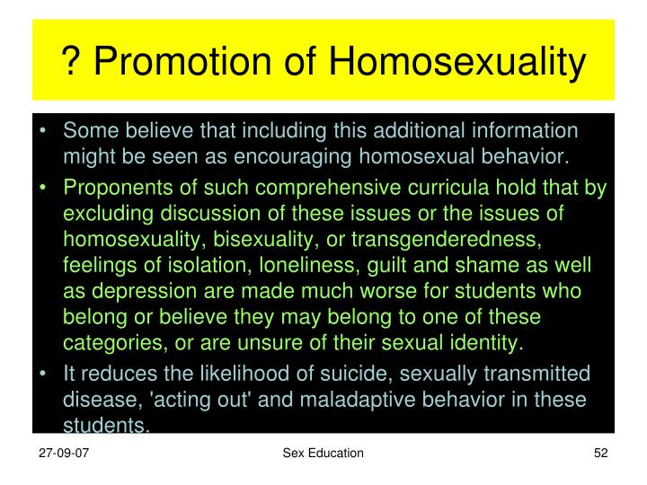 ? Promotion of Homosexuality