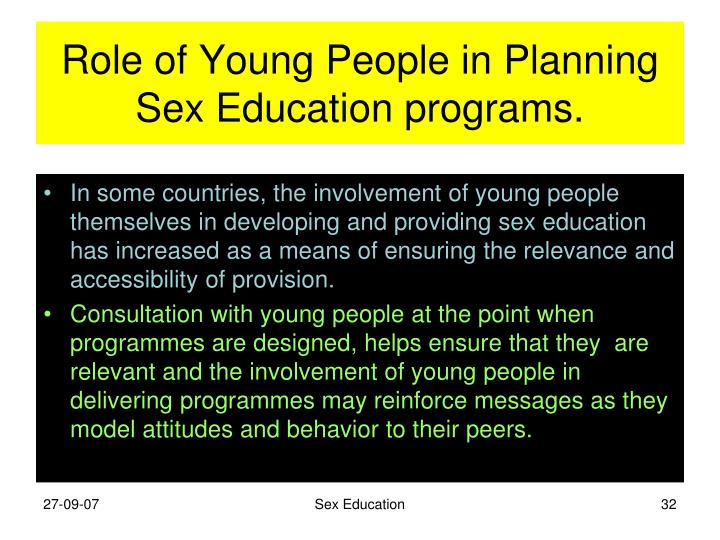 Role of Young People in Planning Sex Education programs.