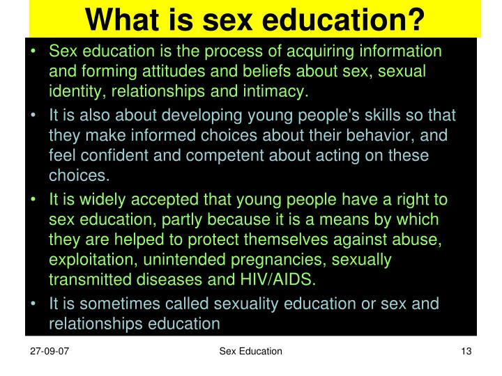 What is sex education?