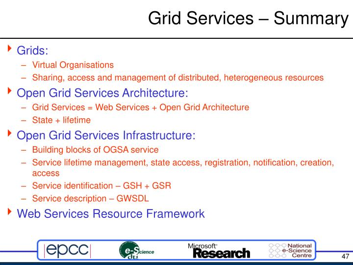 Grid Services – Summary