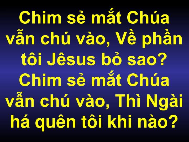 Chim sẻ mắt Chúa vẫn chú vào, Về phần tôi Jêsus bỏ sao? Chim sẻ mắt Chúa vẫn chú vào, Thì Ngài há quên tôi khi nào?