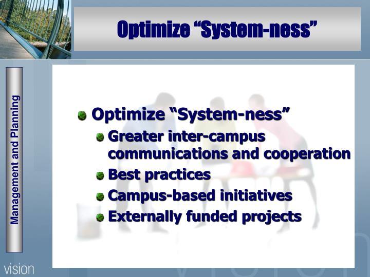 "Optimize ""System-ness"""