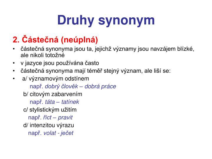 Druhy synonym