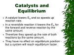 catalysts and equilibrium