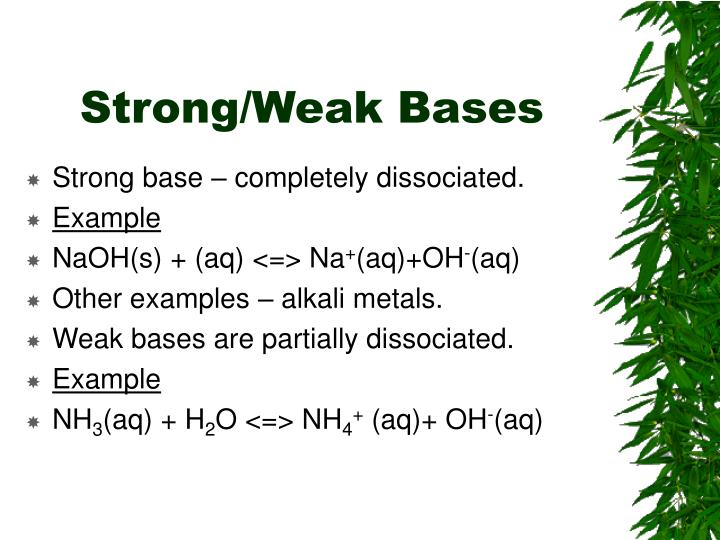 Strong/Weak Bases
