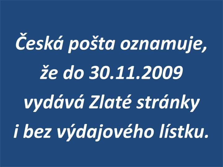 Česká pošta oznamuje,