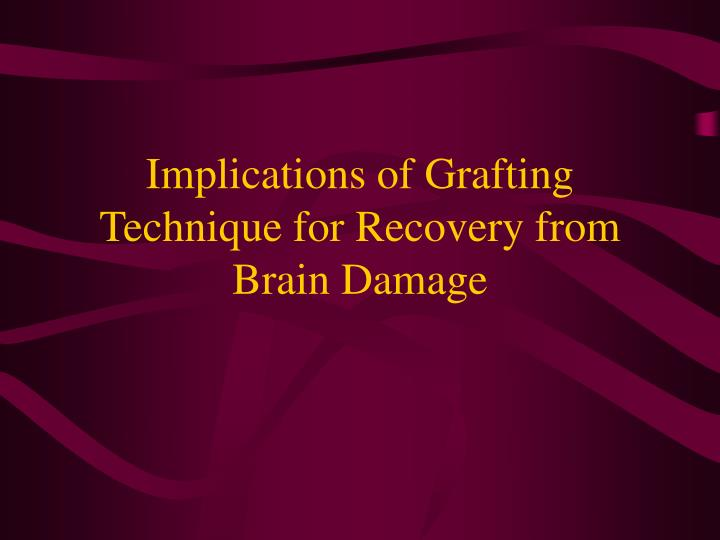 Implications of Grafting Technique for Recovery from Brain Damage