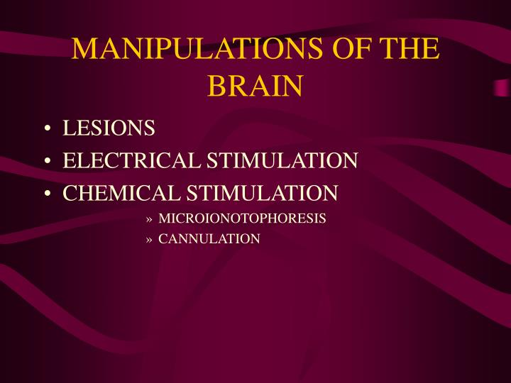 MANIPULATIONS OF THE BRAIN