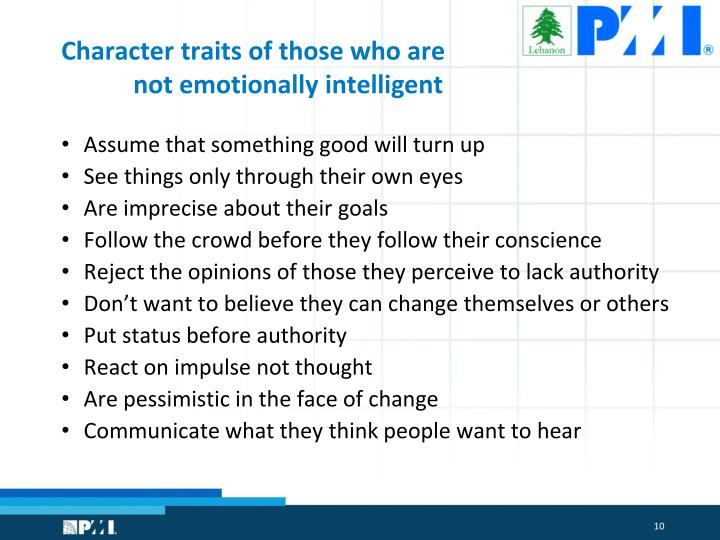 Character traits of those who are