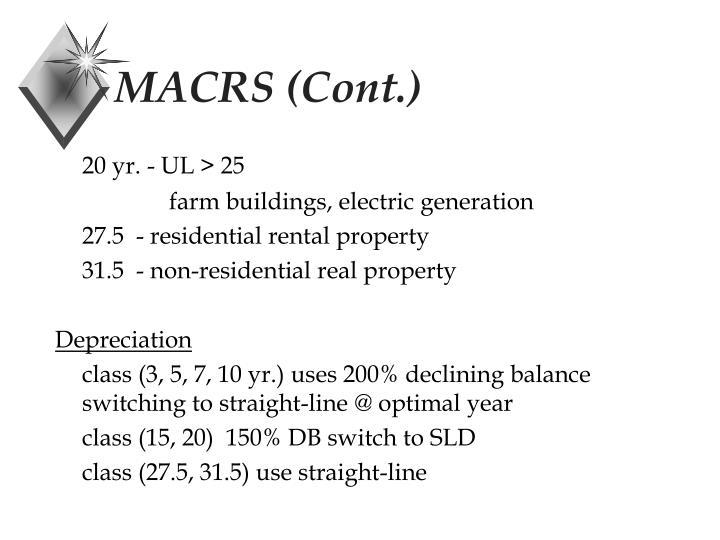 MACRS (Cont.)
