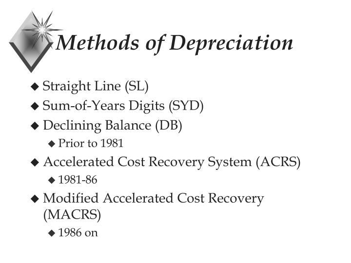 Methods of Depreciation