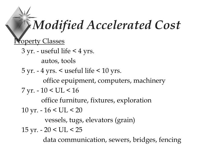 Modified Accelerated Cost