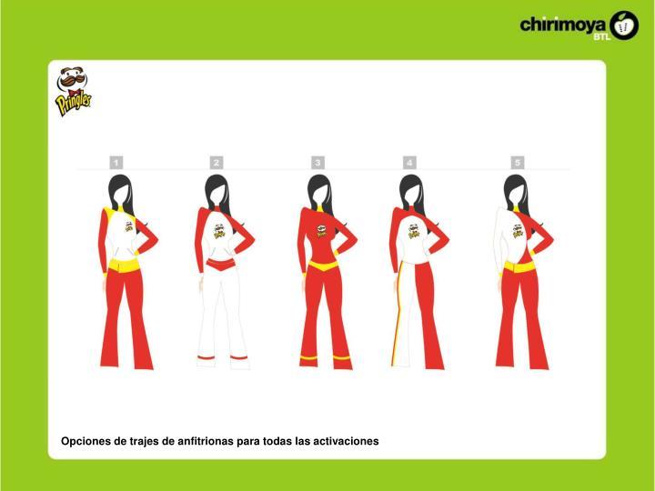 Opciones de trajes de anfitrionas para todas las activaciones