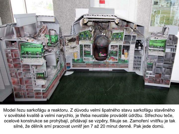 Model řezu sarkofágu a reaktoru. Z důvodu velmi špatného stavu sarkofágu stavěného