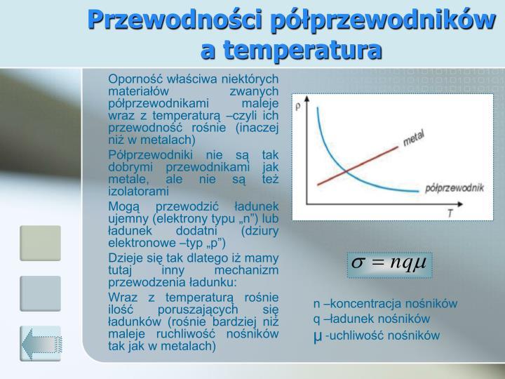 Przewodności półprzewodników  a temperatura